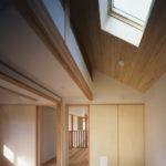 05:2階個室の天井上部の天窓からお部屋を明るくしています。     建具には猫が通れるペットドア設置その名もペットくぐーる