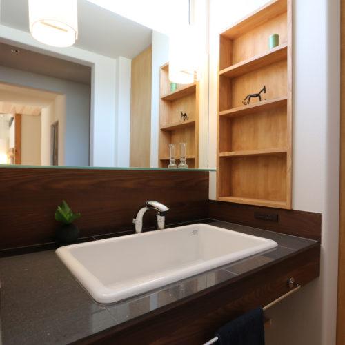 スキップフロアが生み出す贅沢空間の家 パウダールーム